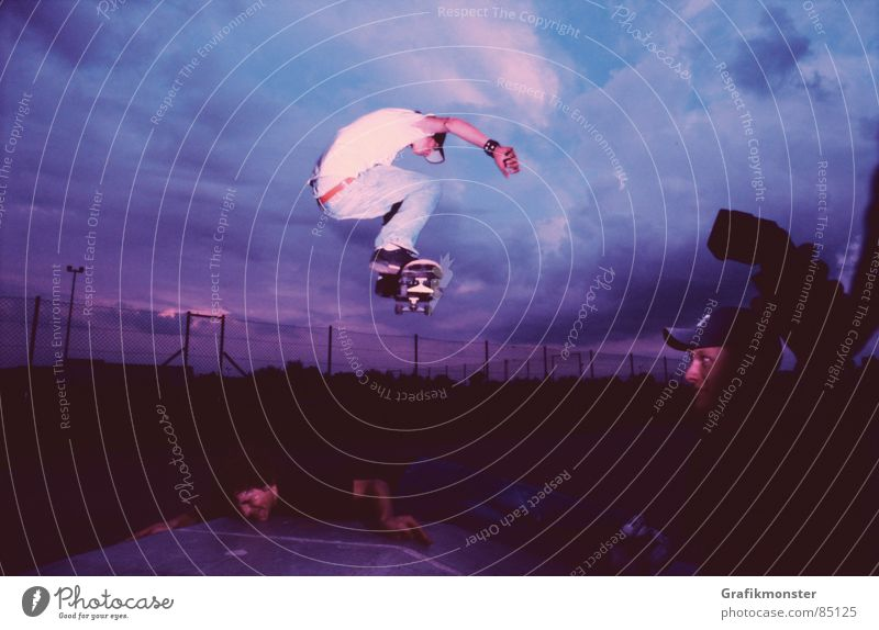 Sky Jump Air Violet Skateboarding Celestial bodies and the universe Hop Purple Canopy (sky) Extreme sports Blue-red