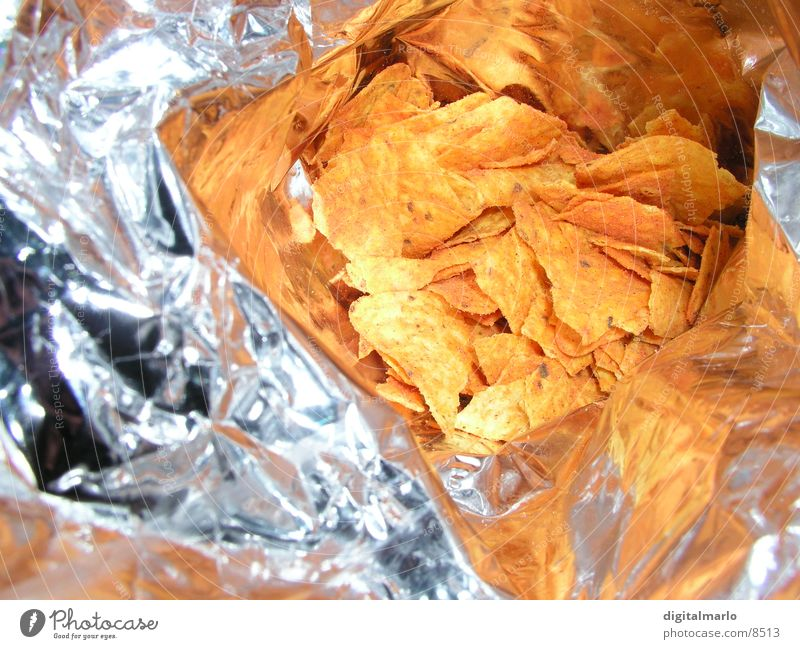 chip bag Salty Fat Television Glittering Herbs and spices Nutrition Microchip Tangy couch potato Metal Orange