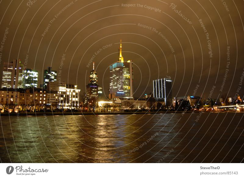 Frankfurt Night High-rise Main Skyline Light