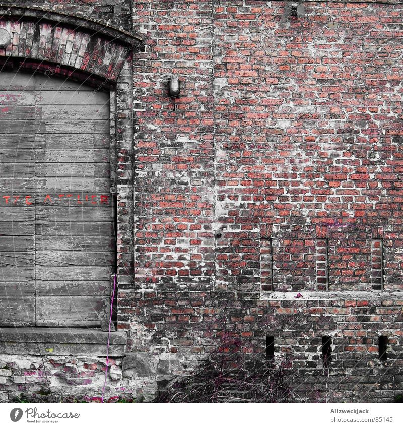 brick studio Wall (building) Wall (barrier) Red Brick Wood Wooden door Gate Square Entrance Beautiful Chic Old Old building Fatigue Loam Passage Portal Shabby