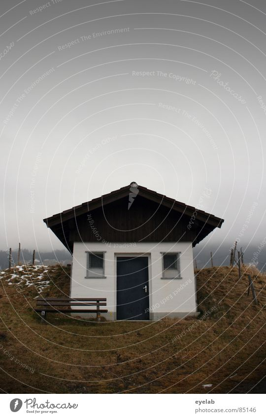 Heim-art...Mund-art...Spess-art. Germany House (Residential Structure) Window Roof Rural Home country Loneliness Small Autumn Gray clouds Bad weather Fog Cold