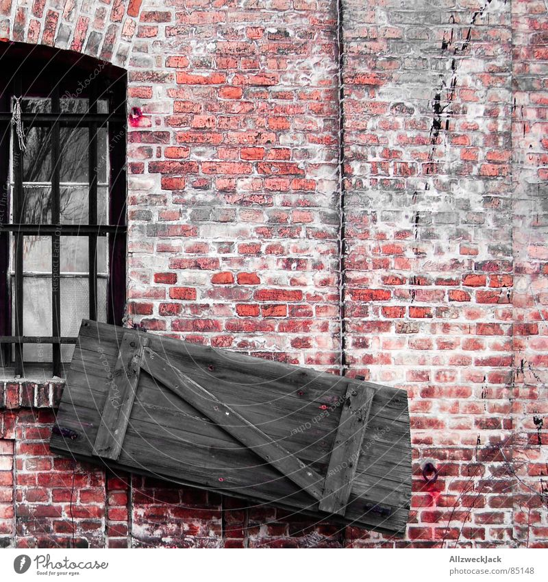 storm damages Wall (building) Wall (barrier) Red Brick Wood Wooden door Gate Square Entrance Beautiful Chic Old Old building Fatigue Loam Passage Portal Shabby