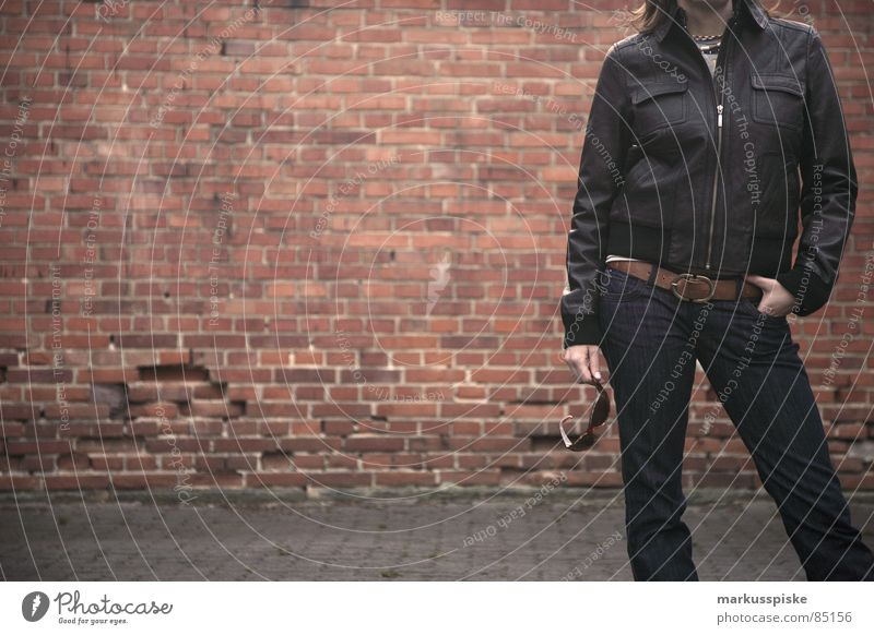 Woman Style Clothing Jeans Posture Brick Sunglasses Backyard Belt Leather jacket