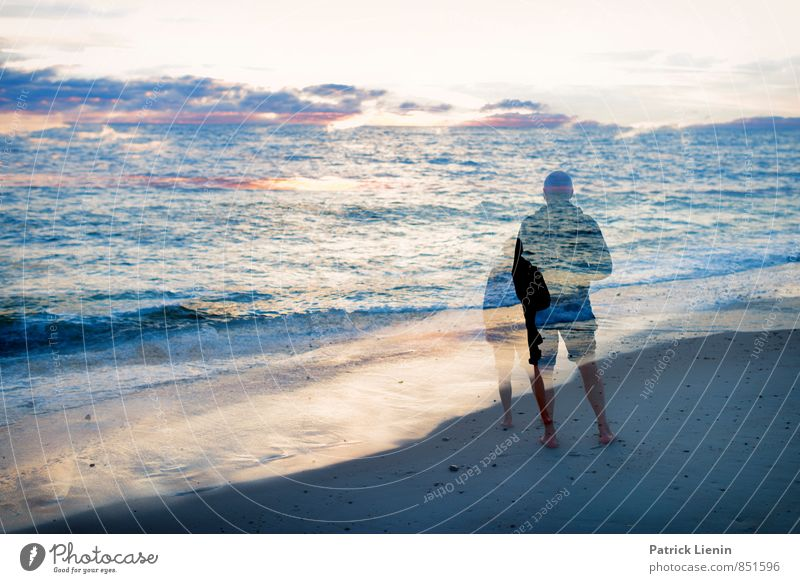 With me by the sea Wellness Life Harmonious Well-being Senses Human being Masculine Man Adults Body 1 45 - 60 years Environment Nature Landscape Earth Sand