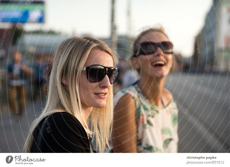 Human being Woman Youth (Young adults) City Beautiful Young woman Joy 18 - 30 years Adults Street Feminine Berlin Happy Laughter Friendship Together