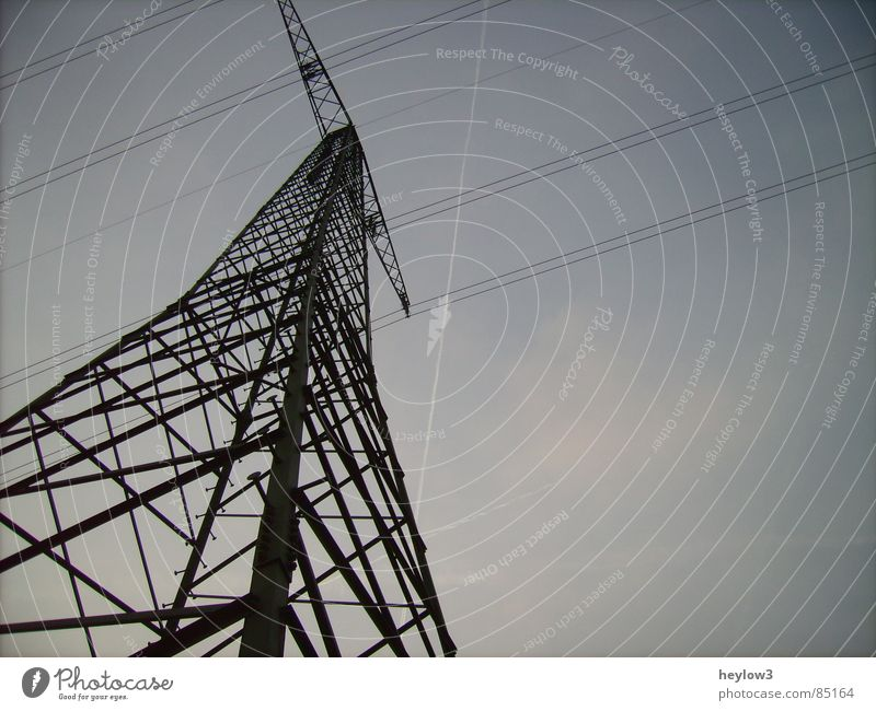 Sky Death Walking Airplane Energy industry Electricity Corner River Connection Stress Tension Wire Transmission lines High voltage power line Vapor trail