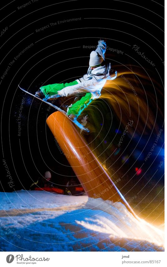 Nightshooting Tailpress Snowboard Long exposure Exposure Hoch-Ybrig Trick Blue Light Dark Black Winter Extreme sports jib puzzle minishreding mike frontside Joy