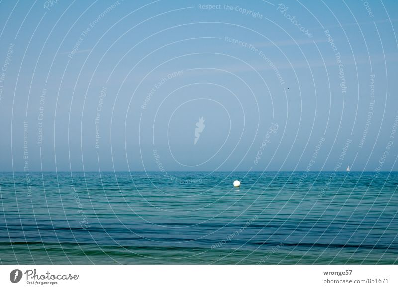 image interference Far-off places Summer Ocean Waves Environment Nature Water Sky Horizon Beautiful weather Coast Baltic Sea Sailboat Infinity Maritime Blue