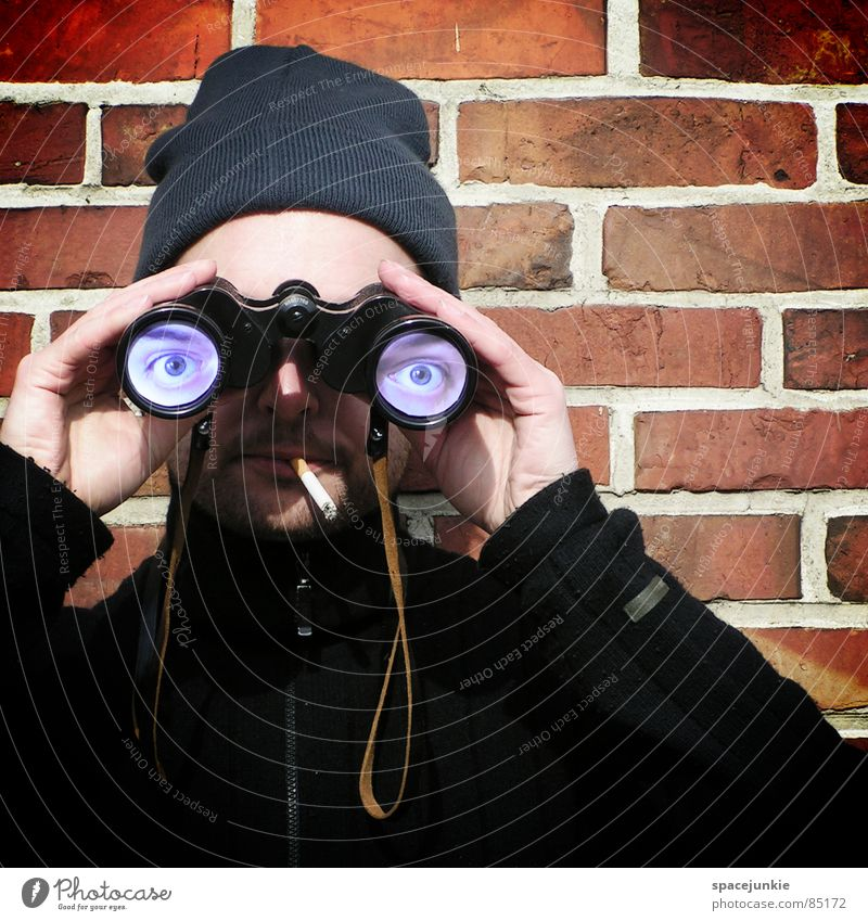 Joy Eyes Wall (building) Smoking Brick Cap Whimsical Looking Clothing Strange Humor Flirt Binoculars Seaman Informer Telescope