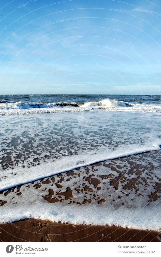 Just Like Heaven Ocean Sylt Waves Sky Foam Beach Dream Gorgeous Beautiful Pleasant Idyll Clouds Happiness Winter sea wave Blue Blue sky Sand heaven