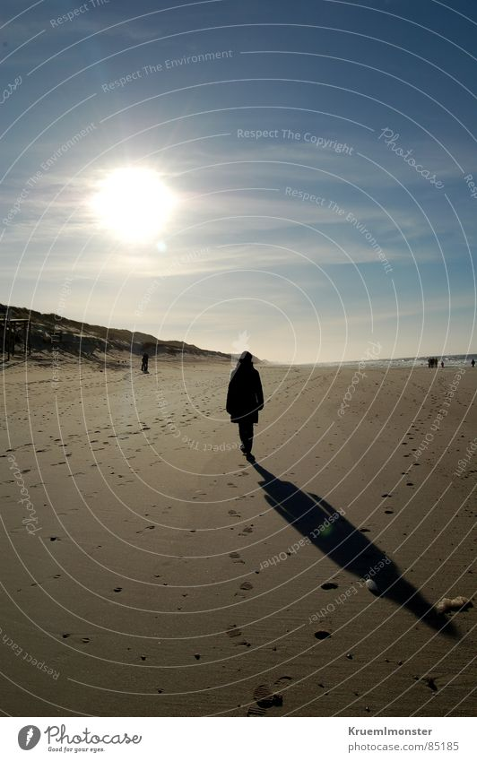 Woman Human being Beautiful Sky Sun Ocean Winter Beach Clouds Dream Warmth Sand Bright Lighting Earth Empty