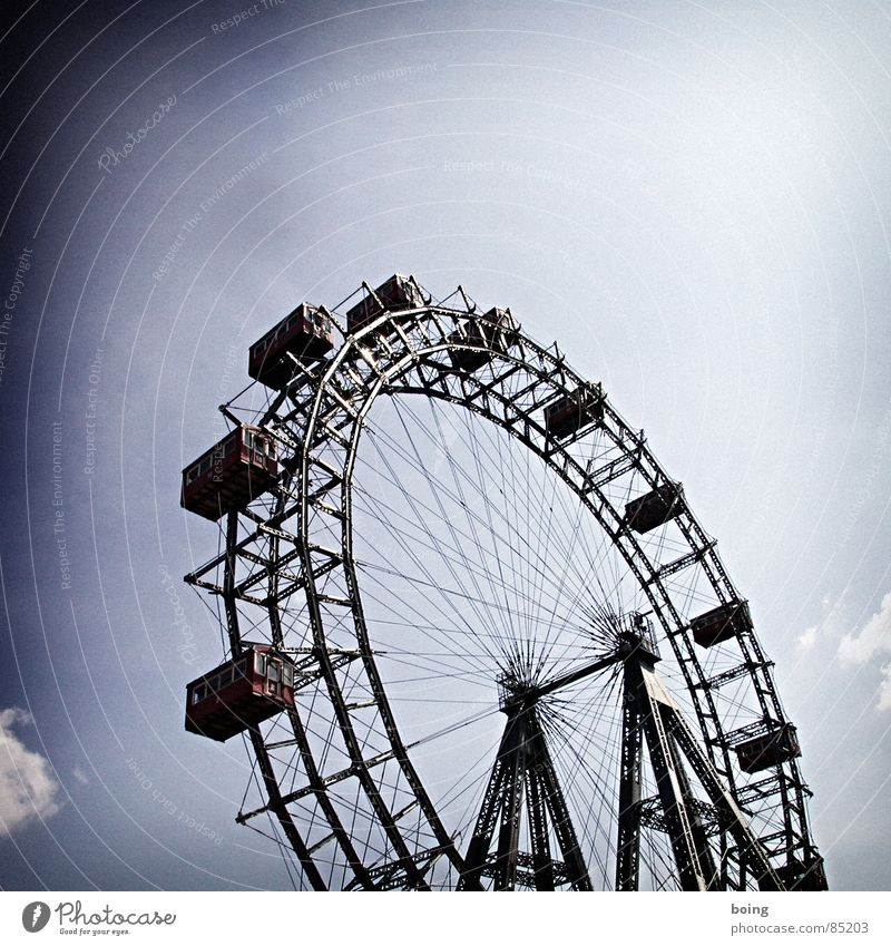 Sky Leisure and hobbies Trip Circle Wheel Rotate Fairs & Carnivals Landmark Austria Vienna Section of image Partially visible Rotation Famousness Ferris wheel