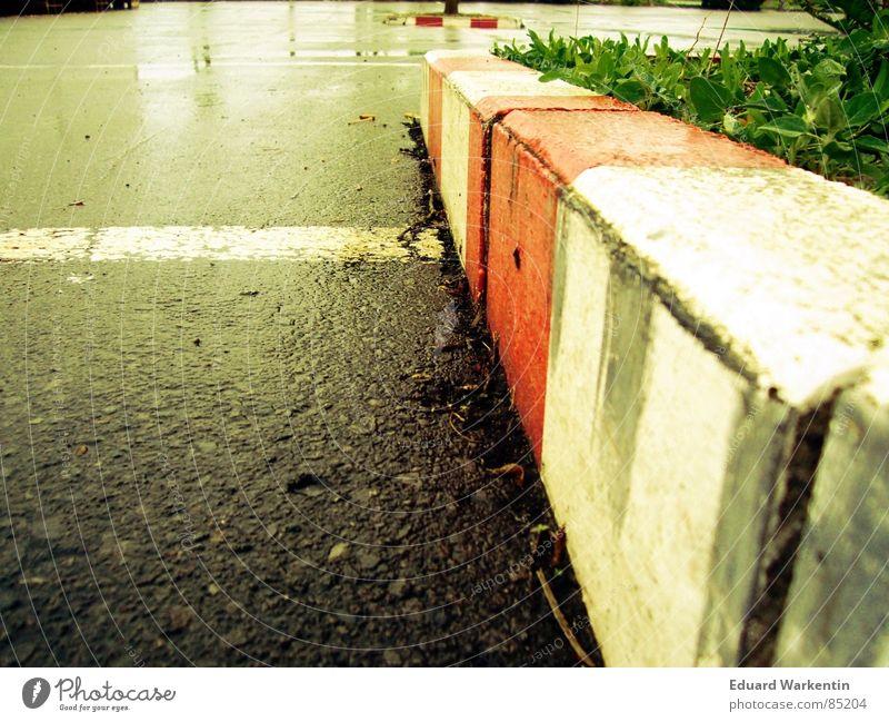 Sunday morning in the parking lot Parking lot Morning Wet Asphalt Curbside Under Traffic infrastructure Floor covering Lie Rain hard