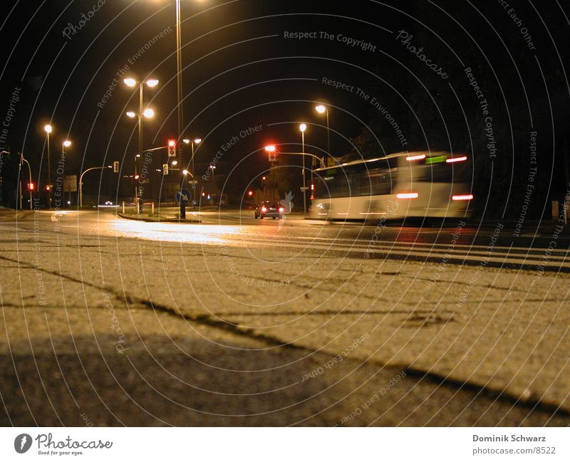 night flight Night Traffic light Blur Dark Transport Lüdenscheid Street Bus Lighting Mixture