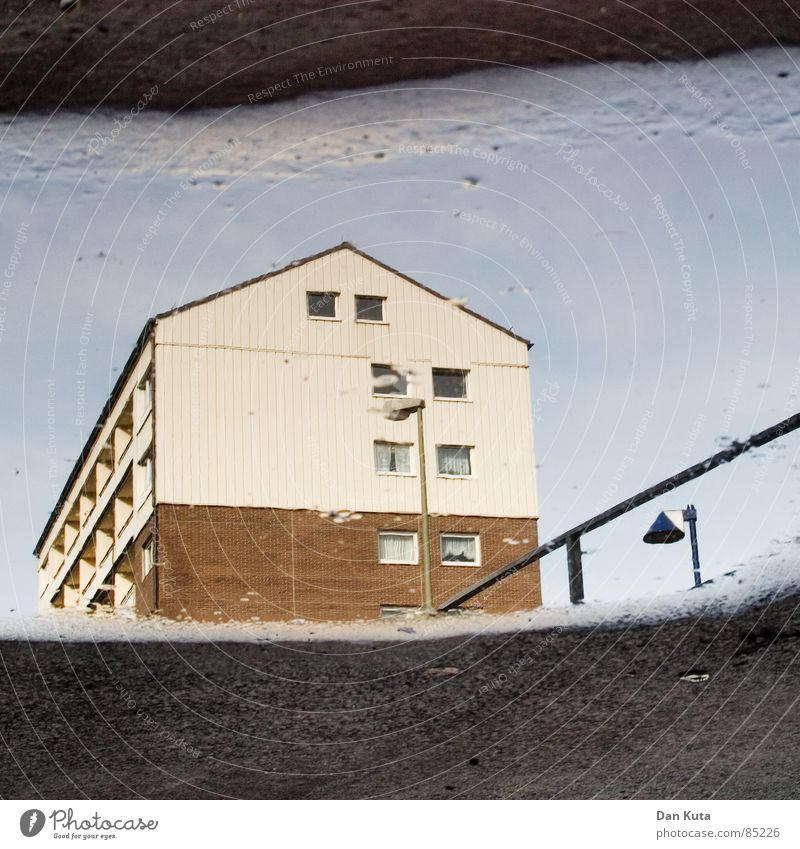 Water Sky House (Residential Structure) Yellow Street Dark Window Sadness Rain Dirty Architecture Weather Wet Gloomy Roof Floor covering