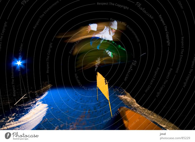 Nightshooting Frontside 1 Indy Long exposure Exposure Lightning Hoch-Ybrig Trick Blue Dark Black Barrier Action Winter Extreme sports Winter sports jib puzzle