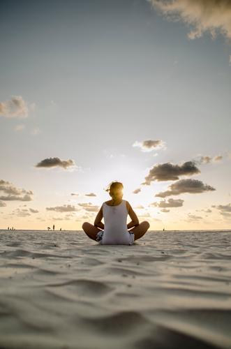 Human being Sky Child Nature Vacation & Travel Summer Ocean Relaxation Landscape Calm Girl Beach Life Feminine Coast Sports