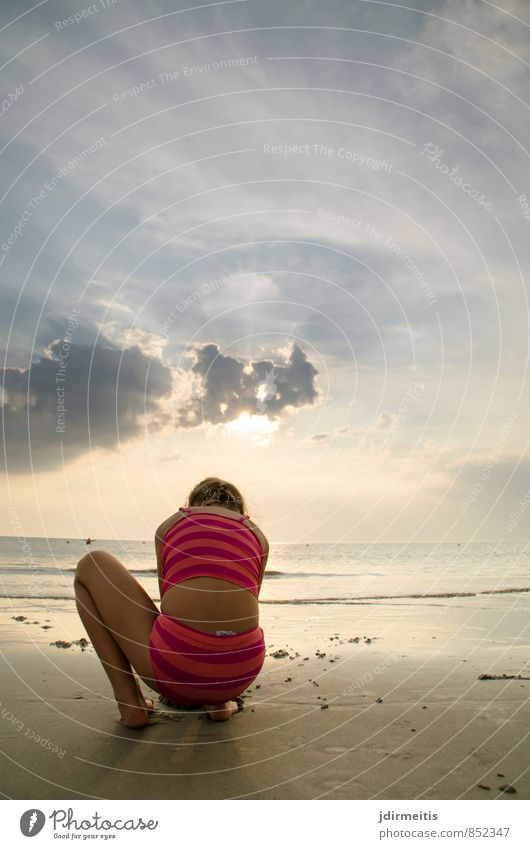 Human being Sky Child Nature Vacation & Travel Summer Ocean Landscape Clouds Girl Joy Beach Feminine Playing Sand Infancy