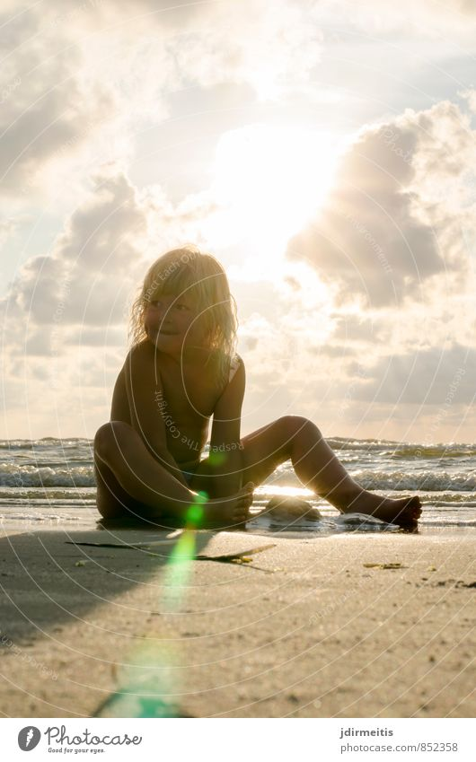 evening at the beach Leisure and hobbies Playing Vacation & Travel Summer Summer vacation Beach Ocean Human being Feminine Child 1 3 - 8 years Infancy Sand