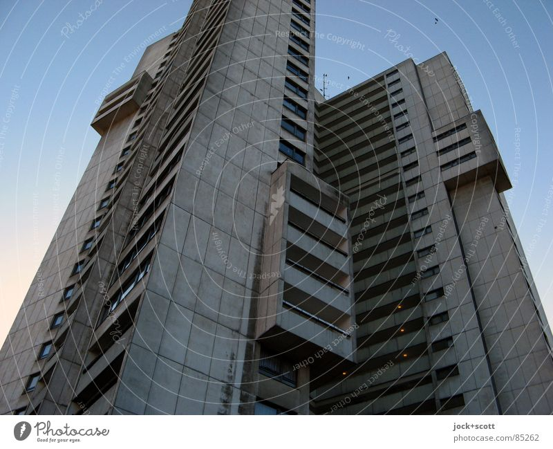 High-rise residential building IDEAL 1 Architecture Cloudless sky Gropiusstadt Facade Exceptional conceit Sharp-edged Tall chill Modern Above Gloomy Gray