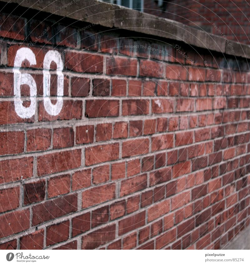 60 Empty Digits and numbers Typography Lettering House number Parking lot Jubilee Wall (barrier) Brick Massive Attach Stability Flat (apartment) Red Square