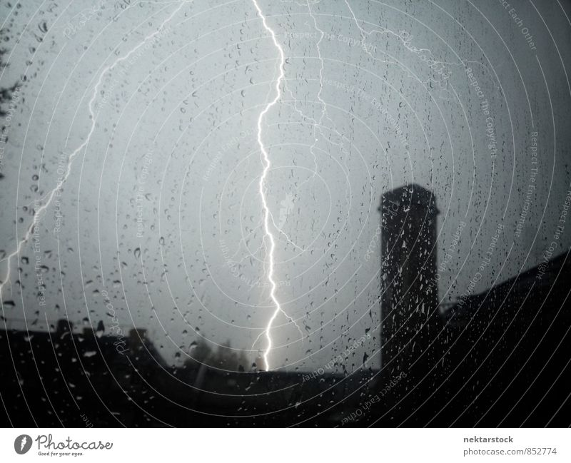Unstorm with lightnings Summer Bad weather Gale Rain Thunder and lightning Lightning Town Jump Power Margin of a field window thunder house thunderstorm glass