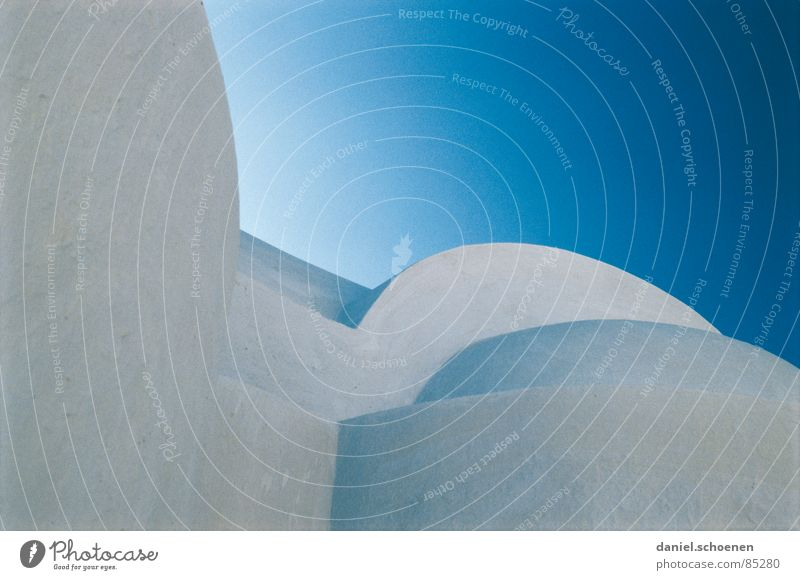 Greece Abstarkt Santorini Abstract Circle Square Structures and shapes Round Cyan House (Residential Structure) Roof Facade Background picture Cold Light Detail