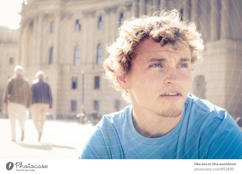 Youth (Young adults) Man Blue City Summer 18 - 30 years Young man Adults Autumn Architecture Berlin Think Masculine City life Meditative Contentment