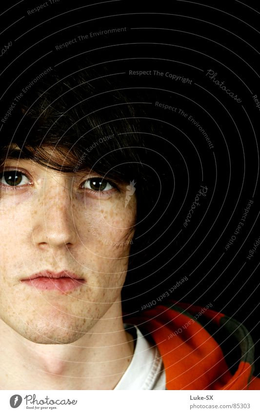 Man Youth (Young adults) Colour Young man Boredom Face Hooded (clothing) Freckles Section of image Partially visible Portrait photograph Herpes Detail of face