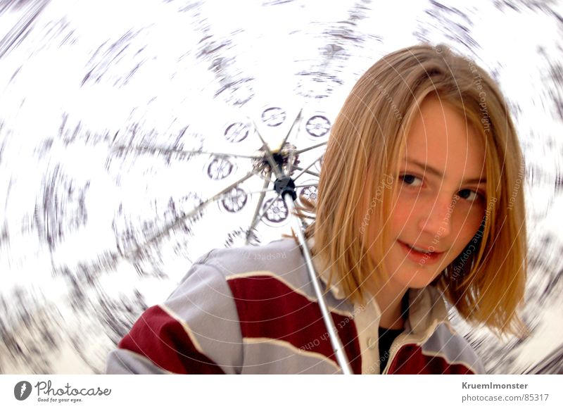 The story... Rotation Long-haired Blonde Striped Amazed Curiosity Sideways glance Pattern Red Shoulder Grinning Photo shoot Easygoing Youth (Young adults)