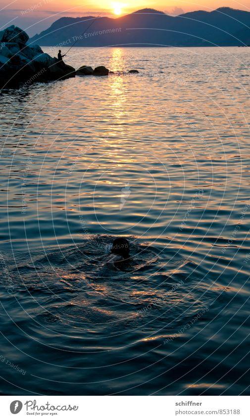 nightswimming Human being 2 Landscape Sun Sunrise Sunset Sunlight Hill Rock Mountain Waves Coast Bay Ocean Swimming & Bathing Fishing (Angle) Angler Fisherman