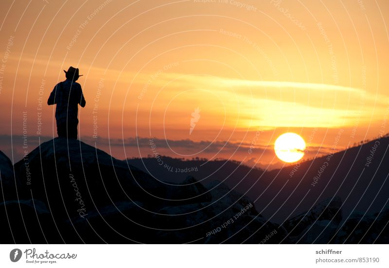 Lonesome cowboy Masculine Young man Youth (Young adults) Man Adults 1 Human being Sky Sun Sunrise Sunset Sunlight Summer Beautiful weather Hill Mountain Yellow