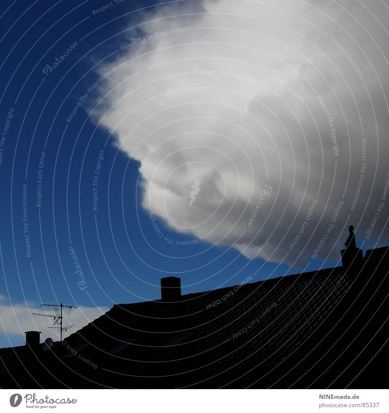 threatening cotton ball II Roof Clouds Black Antenna Threat Storm Absorbent cotton Soft Gray Exterior shot Square Dangerous Rain Rectangle Sky Craft (trade)