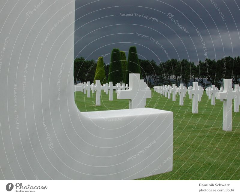 60 years later Cemetery Soldier France Normandie Americas Second World War Omaha Beach Grave Remember Memory Grief Honor Christianity Tombstone Historic Back