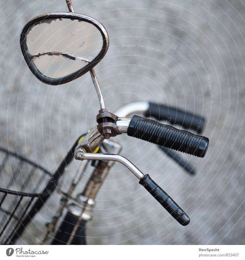 side mirror Bicycle Mirror Glass Metal Old Broken Gray Black Cycling Brakes Bicycle handlebars Rear view mirror Distorted Crack & Rip & Tear Rust Colour photo