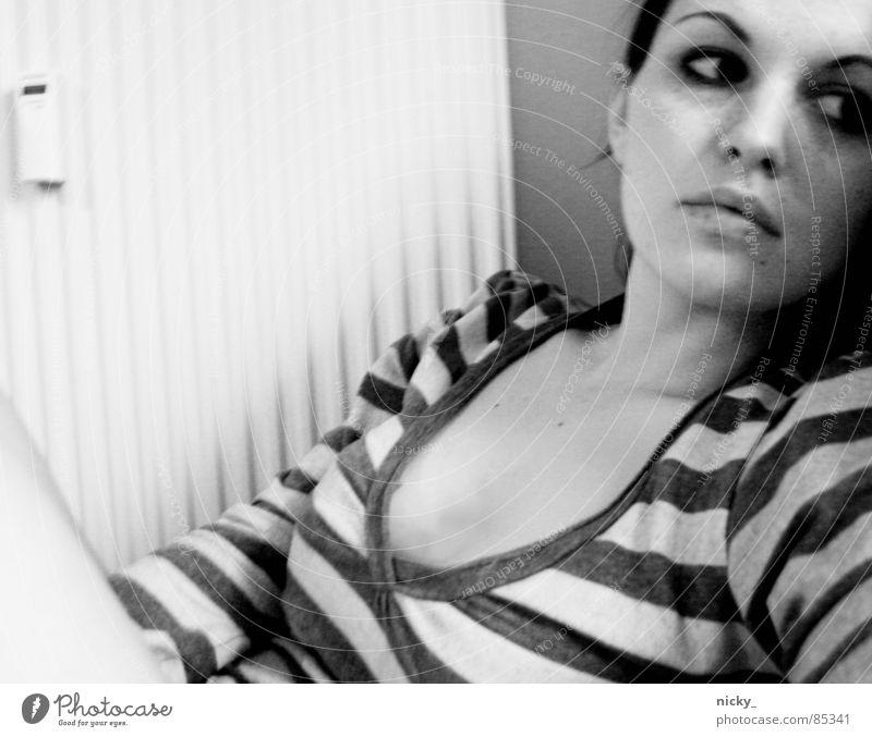 Woman Black Loneliness Stripe Heater Dreamily