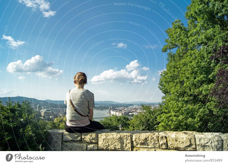 View of Budapest Human being Feminine Young woman Youth (Young adults) Body Back 1 18 - 30 years Adults Environment Nature Landscape Plant Air Sky Clouds