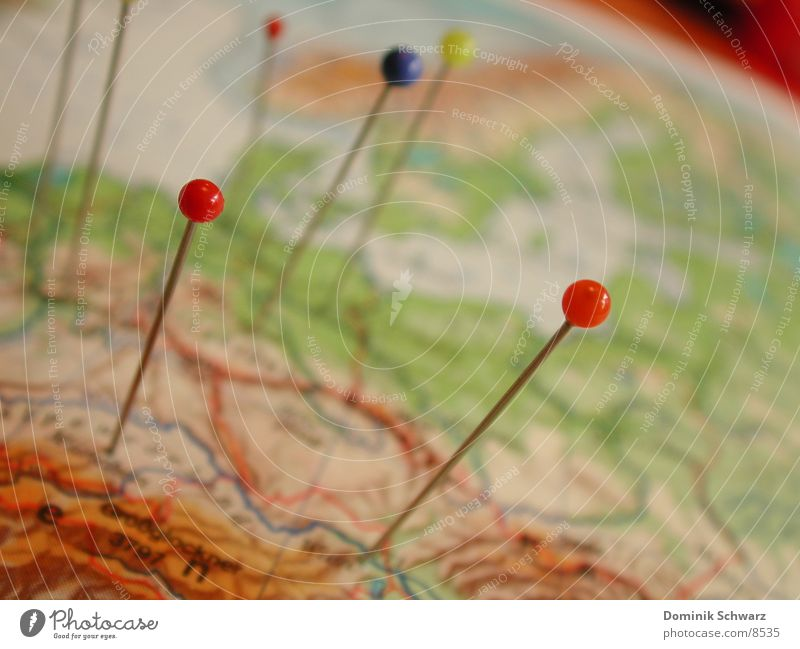 At home in the world Travel photography Map Atlas Pin Wanderlust Depart Signs and labeling Felt-tipped pen Globe Needle Detail Information