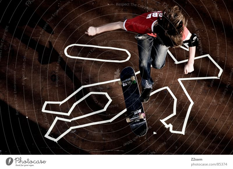 Human being Death Sports Above Wood Jump Style Tall Lie Action Floor covering Jeans Skateboarding Wooden board Striped Easygoing