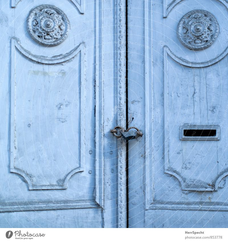 The Rift Istanbul Old town Palace Door Esthetic Exceptional Blue Main gate Entrance Front door two-winged Historic Ornate Carving Wooden door Lock Closed Column