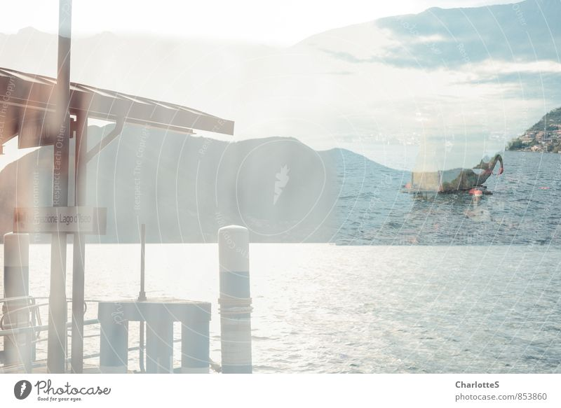 Il Drahgon Sailing Water Clouds Waves Coast Lakeside Iseo Italy Village Fishing village Port City Boating trip Harbour Dragon Figure Loch Ness To swing Dream