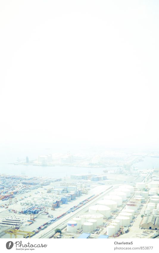 Blue Energy industry Arrangement Fog Perspective Industry Construction site Planning Logistics Manmade structures Factory Traffic infrastructure Truck Chimney