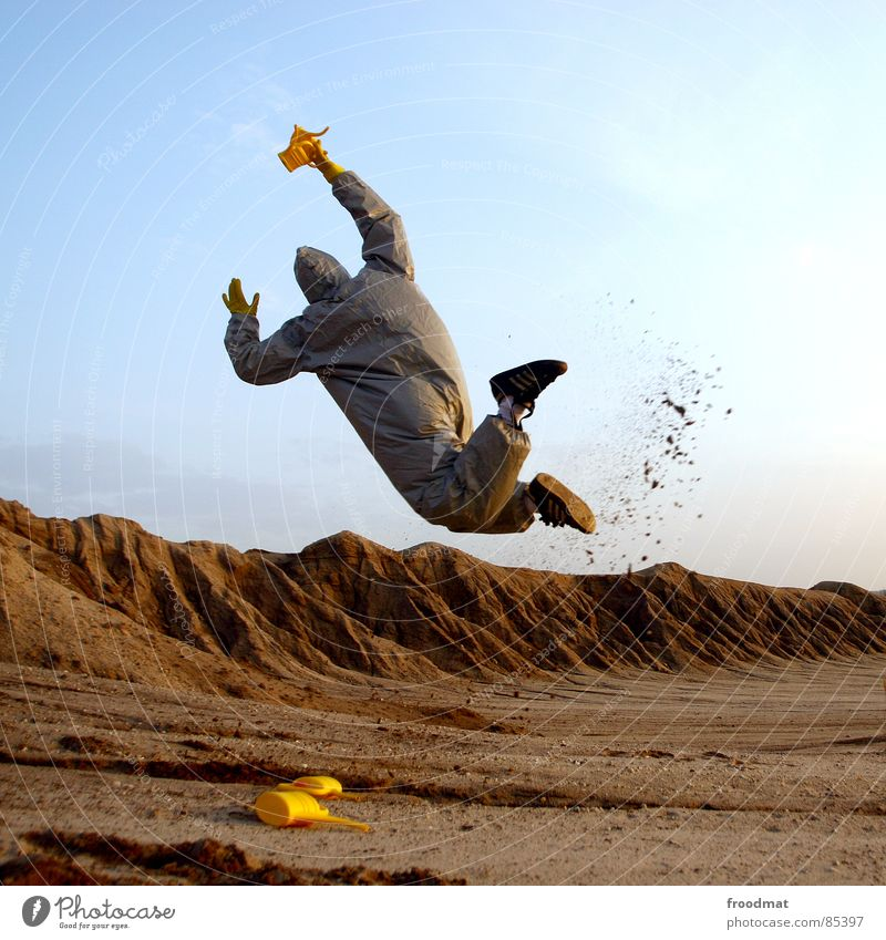 Red Joy Yellow Jump Gray Sand Art Dirty Funny Flying Crazy Mask Suit Stupid Surrealism Planet