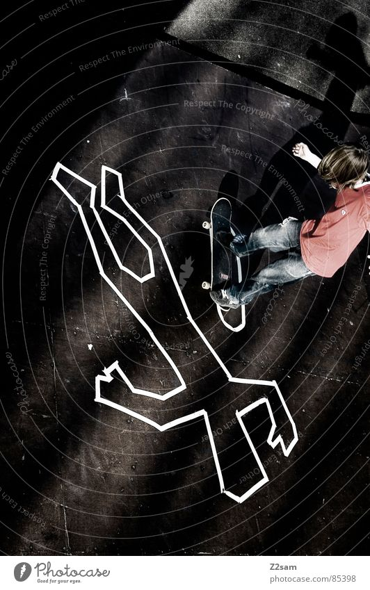 CRIME SCENE - MANUAL Above Discovery site Halfpipe Crime scene Death Striped Skateboarding Style Ramp Wood Bordered Easygoing Trick Jump Action Sports Heelflip
