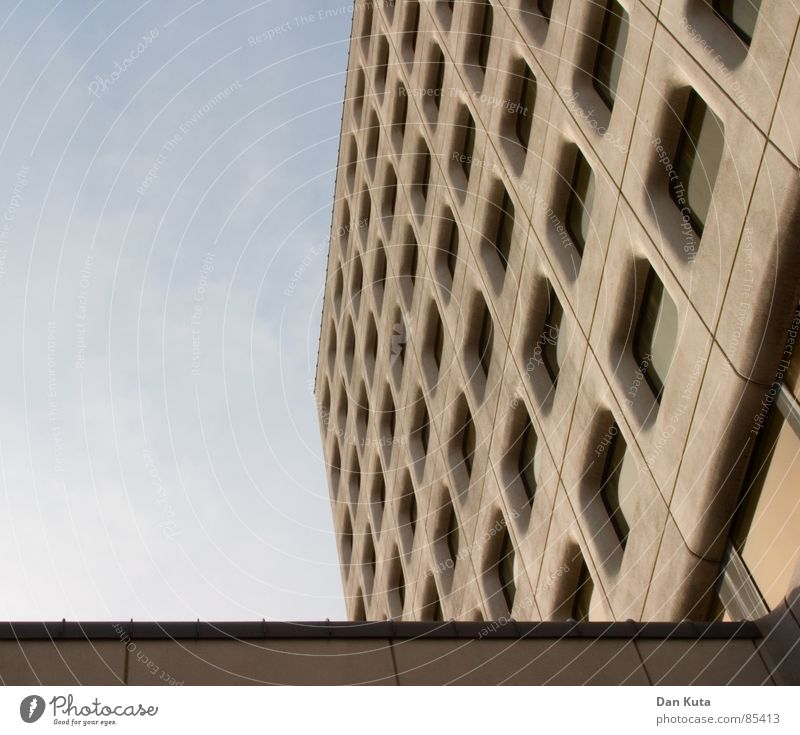 Beautiful Sky Calm Window Gray Dirty Concrete Facade Crazy Perspective Modern Round Roof To fall Cleaning Diagonal