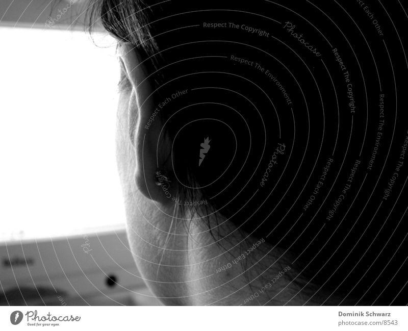 behind blue eyes Woman Piercing Computer Looking Detail Ear Neck Hair and hairstyles ear jewellery
