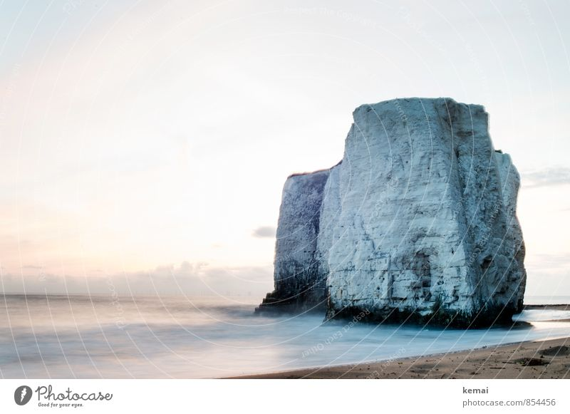 Water flurry Environment Nature Landscape Elements Sky Clouds Sunrise Sunset Summer Beautiful weather Rock Waves Coast Beach North Sea Ocean Botany Bay England
