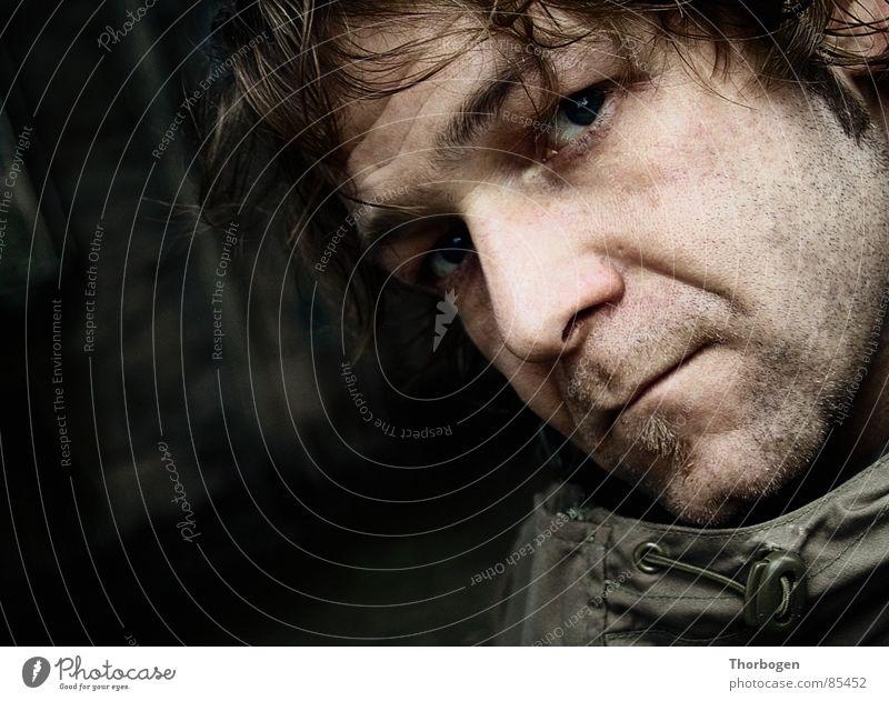 Self-portrait - Or, the beard is off! Portrait photograph Self portrait Retouch Aggravation Rain Ruin Man Face Dugout