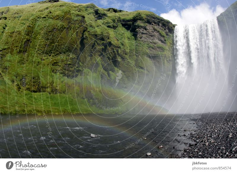 ICELAND / Skógarfoss II Environment Nature Landscape Plant Elements Water Clouds Climate change Rock Mountain Power Might Beautiful Life Wanderlust