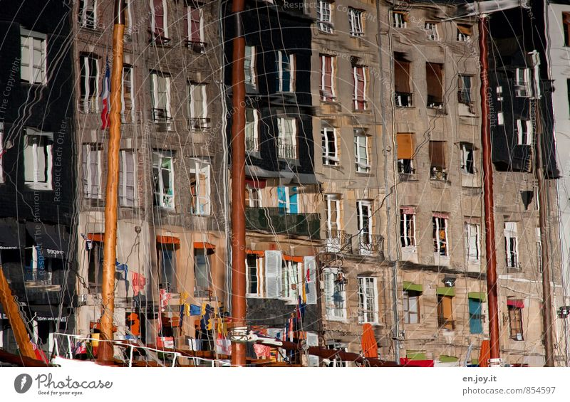 Vacation & Travel City Water House (Residential Structure) Window Wall (building) Wall (barrier) Facade Harbour Flag Picturesque Irritation France Story Old town Mast